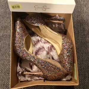 NEW Jessica Simpson Rainbow Glitter Pumps